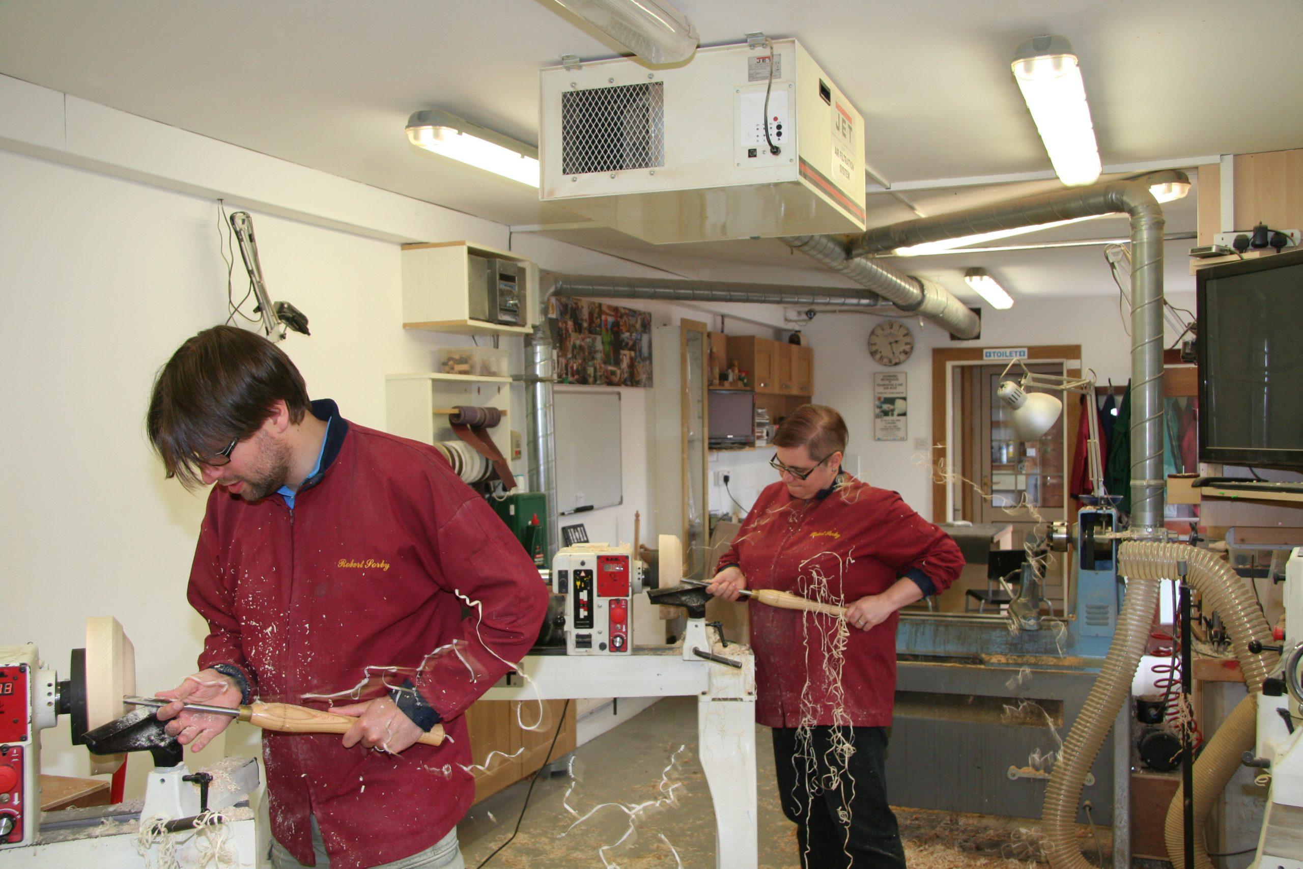 Sander and Christine making shavings !!