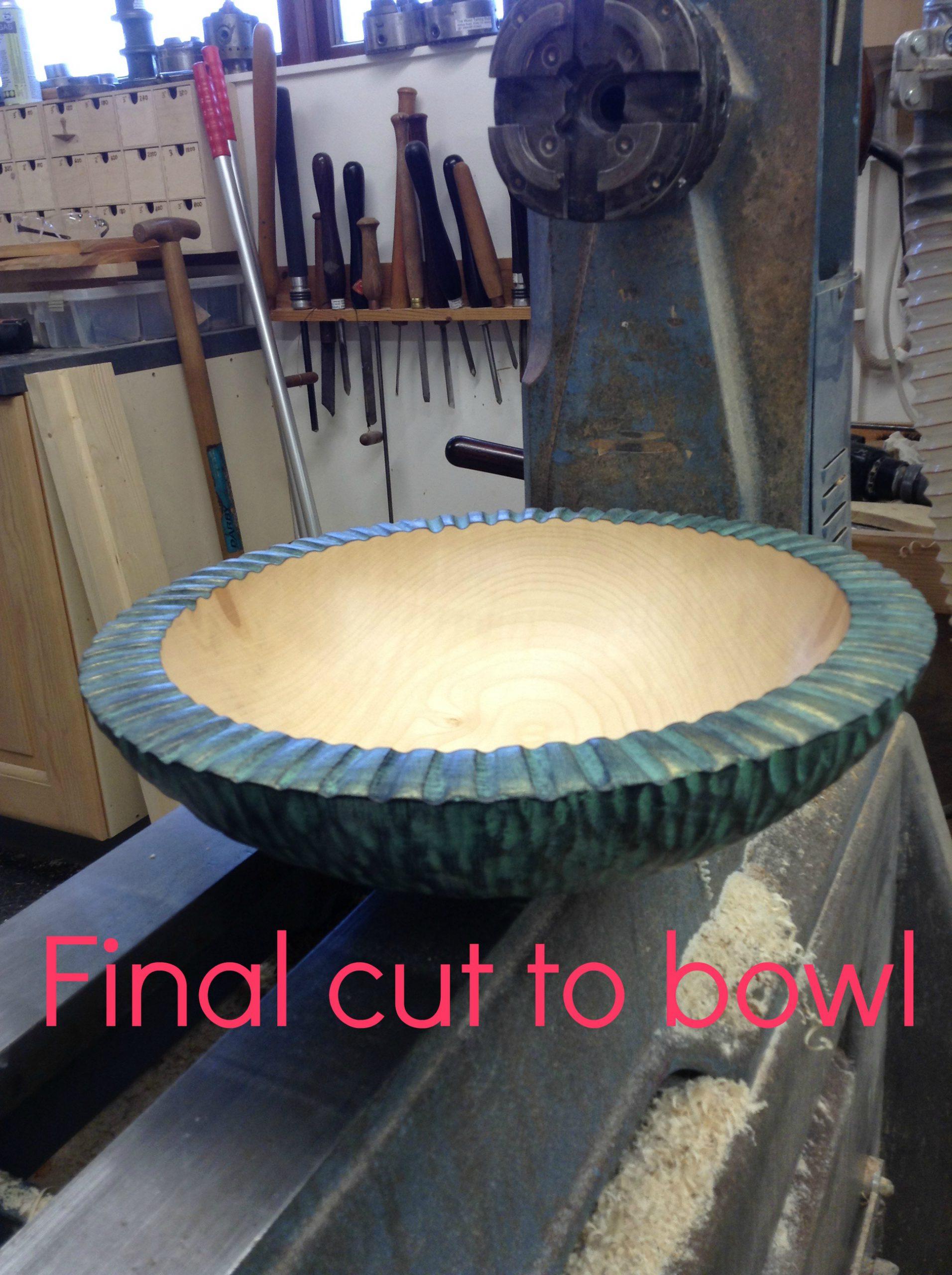 Final cut to verdigris bowl